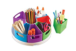 DESK STORAGE: All-in-one storage center features all the space you need to keep your classroom, playroom or office clutter free. MULTIFUNCTIONAL SPACE SAVER: Carousel-style storage center comes with eight removable containers sized for glue sticks, c...