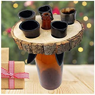 AleHorn Genuine Handmade Pocket Viking Drinking Horn Authentic Toasting Vessel Shot Glass Perfect for Whiskey Beer Wine Ale and Mead Champagne Horn (Tray)