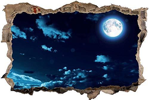 Adesivo da parete 3D, Night Sky Moon nuvole, tridimensionale, autoadesivo, lavabile, facile da applicare e da rimuovere 80x125cm