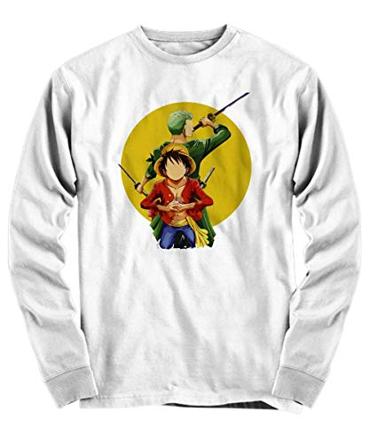 Yinz Hombre Long Sleeve Shirt Luffy and Zoro - One Piece Impresión del patrón Blanco X-Large