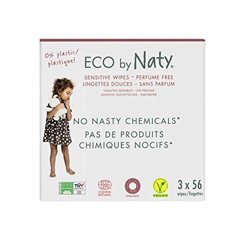 Eco de Naty, Lingettes pour bébé sans parfum, 168 pièces (3 paquets de 56), Lingettes compostables en matière végétale, 0% plastique. Sans produit chimique nocif.