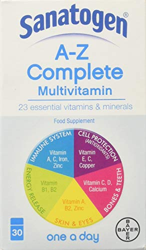 Sanatogen Gold A-Z MultiVitamin & Mineral Supplement Tablets One-A-Day 30 Tablets