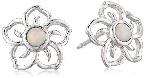 Sterling Silver Created Opal Flower Stud Earrings
