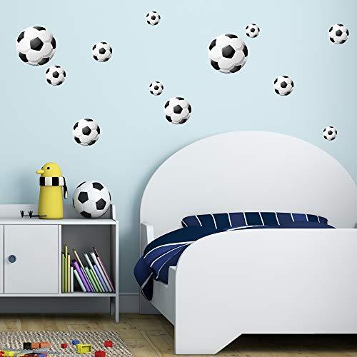 malango Wandsticker Fußball 12er Set Wandaufkleber Wandtattoo Fussbälle Wanddekoration Wand Sticker ca. 2X 20 cm / 2 x 14 cm / 4 x 10 cm / 4 x 7 cm