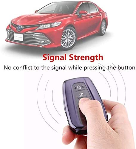 TIANHES for Toyot Key Fob Cover with Keychain Soft TPU 360 Degree Protection Key Case Compatible with 2018-2021 Toyot Camry RAV4 Highlander Avalon C-HR Prius Corolla GT86 Smart Key