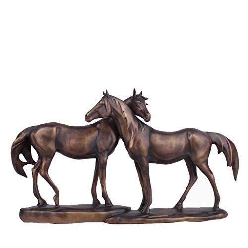 LIUSHI Escultura de Estatua de Caballo de Resina, Pareja Creativa Retro, artesanía de Caballo, decoración del hogar, Oficina, Sala de Estar, decoración 42,5 × 6,5 × 24 CM