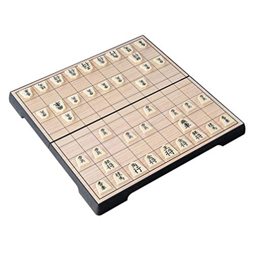 NUOBESTY Magnetisches Shogi-Spiel Reise Falten Japanische Schach Tisch Holz Brettspiel für Die Heimreise Traditionelle Shogi-Spielzeug