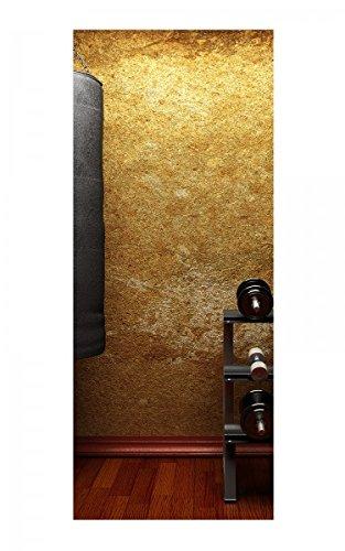 Türaufkleber Fitness Hanteln Boxsack retro Tür Bild Türposter Türfolie Türtapete Poster Aufkleber 15A272, Türgrösse:67cmx200cm