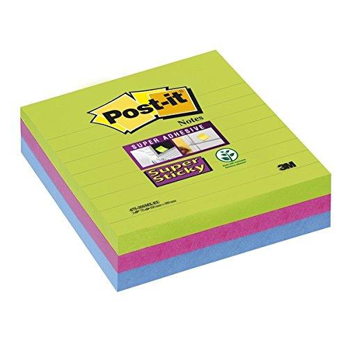 Post-it, Farbige Haftnotizen Liniert, 12er Vorteilspack Sticky Z-Notes, Bunte Klebezettel und Haftnotizzettel, Notizzettel für Büro und Studenten, 3 Blöcke à 70 Post-Its, 100 x 100 mm