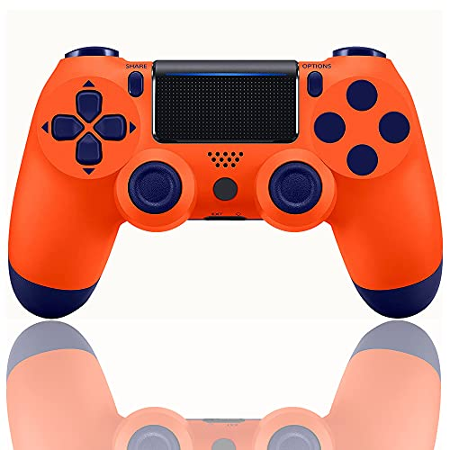 PS4 Controller ,Gamepad Joystick with Dual Vibration and USB Charging Cable,with Audio Function, Indicator and USB Cable Compatible with PS4/Pro/Slim(Sunset orange)