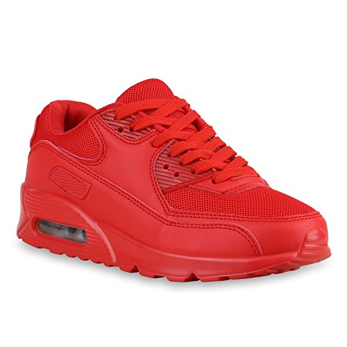 stiefelparadies Damen Sportschuhe Trendfarben Laufschuhe Sneakers Runners 138178 Rot 45