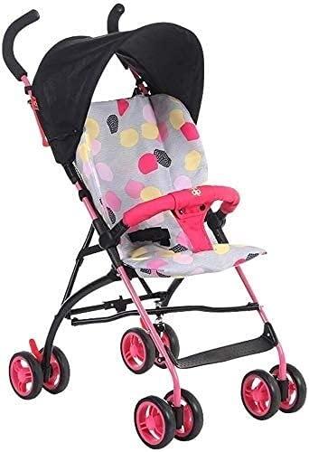 Cochecito de bebé Portátil Portátil Cochecito de carruaje Ligero Ligero Carrito Carrito Cochecito Bebé 4 Rueda Paraguas Cochecito Ligero Alto Paisaje Carro (Color : Red Black)