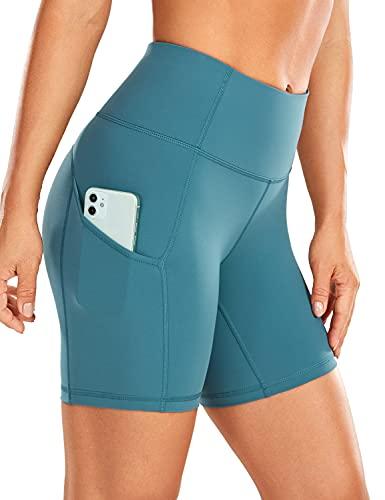 CRZ YOGA Mujer Pantalones Cortos Deportivos de Cintura Alta,Running Pantalones Cortos con Bolsillo Lateral-15.24cm Azul de Gasolina 42