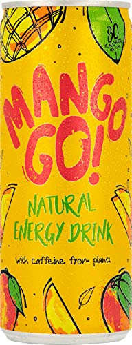Mango GO! Natural Energy Drink, Mango, Pack of 12 x 250ml - Vegan - New - Plant-Based - Natural Energy - Natural Caffeine Drink - Healthy Energy Drink - Pick ME UP Before You GOGO!
