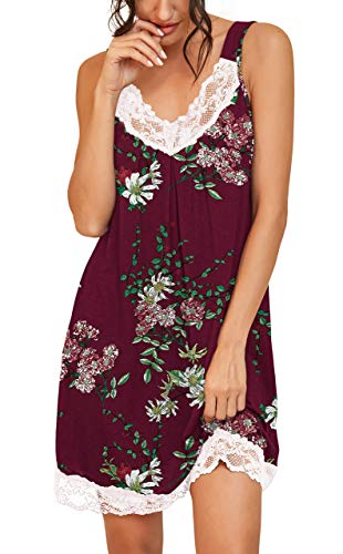 PrinStory Women's Loose Full Slips Lace Nightgown Chemise Sleepwear Cotton Jersey Lingerie US Medium Print Flower Wine Red