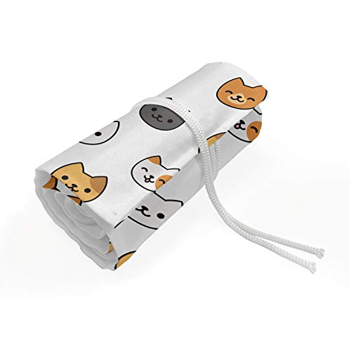 ABAKUHAUS Kätzchen Mäppchen Rollenhalter, Glückliche Karikatur-Katzen, langlebig und tragbar Segeltuch Stiftablage Organizer, 72 Schlaufen, Ingwer-Senf Grau