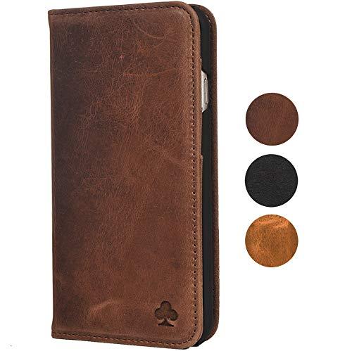 Porter Riley - Lederhülle für HTC U11. Premium Echtleder Standhülle/Cover/Brieftasche kompatibel mit HTC U11 (Schokoladenbraun)