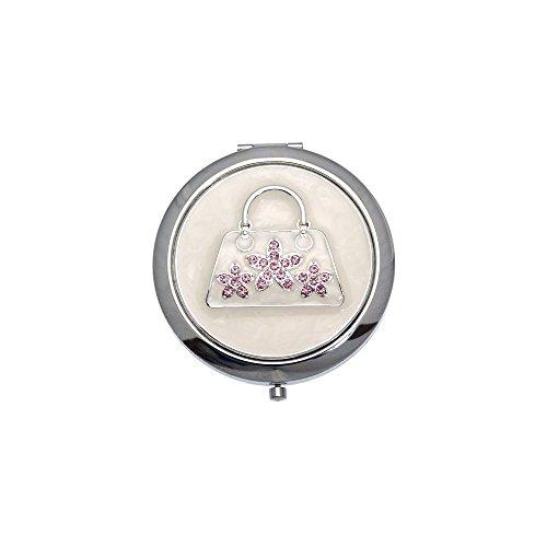 MADAM Argent rose sac à main Crystal miroir Double Compact