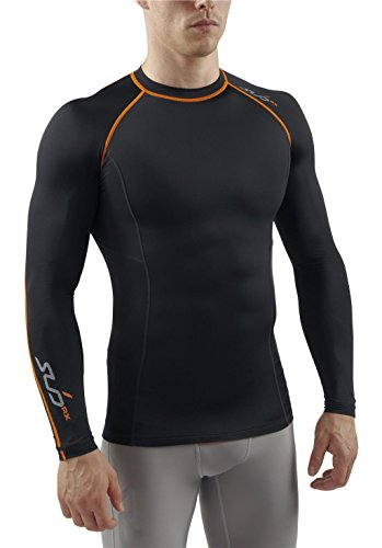 Sub Sports Herren RX Abgestufte Kompressionsshirt Funktionswäsche Base Layer Kurzarm, Schwarz/Orange, S