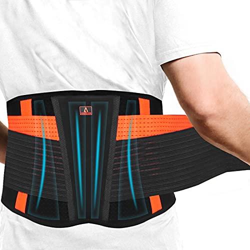 Rückenbandage mit Verstellbare Zuggurte, Anoopsyche Rückengurt für die Lendenwirbel, Rückengürtel für Damen & Herren, entlastet die Rückenmuskulatur und zur Haltungskorrektur(M)