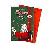 Lastword Christmas Cards - tarjetas de felicitación de navidad con marcapáginas elástico rojo y sobre incluidos, tarjeta de Navidad - postales navidad y marcapáginas diseñada en Italia (Verde)