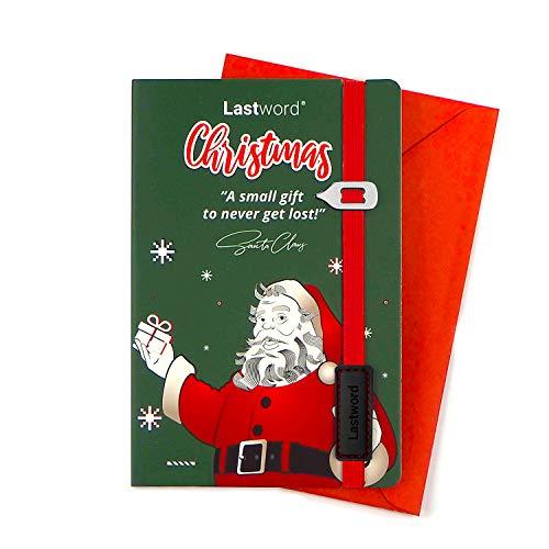 Lastword Christmas card – biglietto auguri di natale con segnalibro elastico rosso e busta lettera compresi - cartolina natale, biglietto natale, cartolina natalizia – designed in Italy