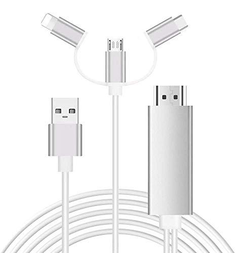 Cable HDMI 1080P USB C Micro USB a HDMI 3 en 1 Cable Adaptador Convertidor de Smartphone a HDMI 1080P Digital a AV HDTV Espejo Convertidor para Televisión Televisor