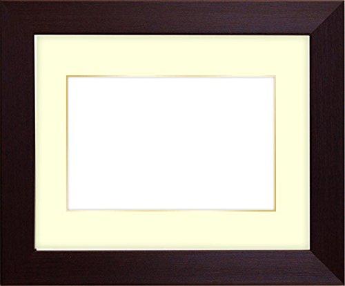 写真用額縁 1530/ダークブラウン Lサイズ(127×89mm) ガラス マット付(金色細縁付き) マット色:黒