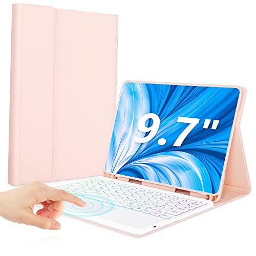 TiokYay Tastaturhülle mit Touchpad für iPad 9.7 Air 2, Air, 2018 2017 Pro 9.7, QWERTY, Bluetooth 12-Farben-Touchpad-Tastatur mit Hintergrundbeleuchtung und QWERTY Smart Cover für iPad 9.7 (Roségold)