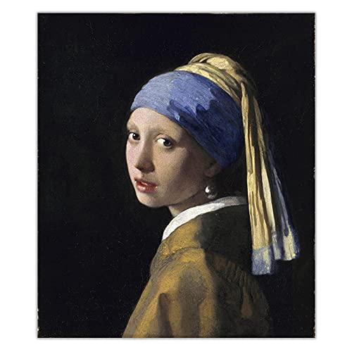 Johannes Vermeer 《La chica con un pendiente de perla》 Lienzo Pintura al óleo Obra de arte famosa Imagen Póster Decoración Decoración del hogar 70x83cm Sin marco