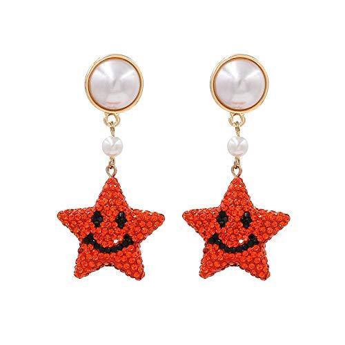 JIAJBG Pendientes de Navidad Pendientes Diamantados Imitados Pendientes de Estrella de Cinco Puntas Star Creative Star Pendientes de Perlas Regalos de Joyería para Mujeres Retro/A