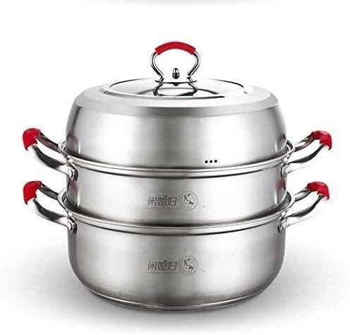 ZWH Cuiseur à Vapeur Steamer Pan Set en Acier Inoxydable 2 Tier Steamer Pot Induction HOB Gaz Universal Stock Pot 28cm
