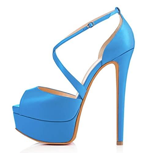 TER Bombas Discoteca Sandalia Zapatos de Novia ultramodernos 14cm Sandalias súper Altas...