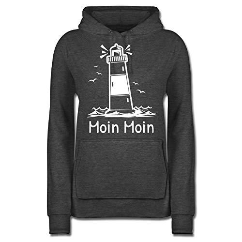 Statement - Moin Moin - Leuchtturm - L - Anthrazit meliert - Nordsee - JH001F - Damen Hoodie und Kapuzenpullover für Frauen
