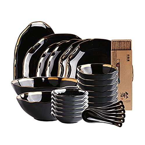 XCNFDI Juego de vajilla de China, Juego de vajilla de Plato de Cena, 48 Piezas de Estilo Europeo, Platos y Cuencos de Porcelana de Hueso - Juego de Cena de cerámica para Regalos de Boda y