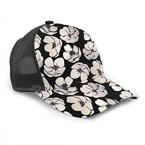Gorra de béisbol para hombres y mujeres, blanco Animone en malla de camionero ajustable, gorra de béisbol con ventilación de verano