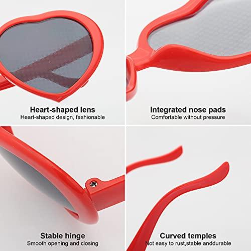 solawill 2pcs Gafas De Efectos Especiales En Forma De Corazón 3D Gafas Reflectantes Luces Cambiantes Genial Moda Regalos De Cumpleaños Fiesta Accesorios Fotográficos Luces Negro rojo