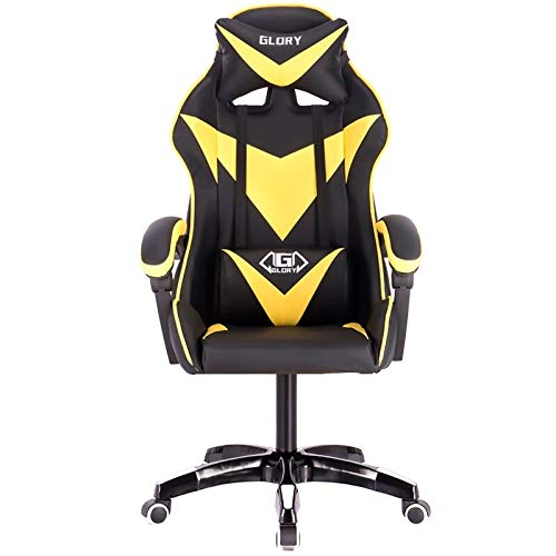 DOO internet cafe Deportes silla de carreras profesional de la computadora silla de WCG Gaming silla de oficina (amarillo sin reposapiés)