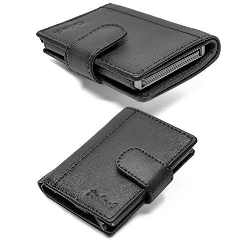 TALED® Kartenetui RFID Geldbörse Leder - Praktisches Slim Wallet Braun - RFID Schutz - Figuretta Kreditkartenetui Herren mit Münzfach- Premium smart Wallet - Bis 12 Karten (Vintage-Black)