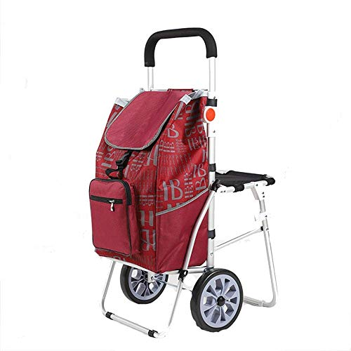 Home Equipment Storage Shopping Trolley Folding Shopping Trolley Aluminum Alloy Waterproof Cloth Printed Shopping Trolley On 2 Wheels With Detachable Bag Lightweight Shopping Trolley (Color : Red S
