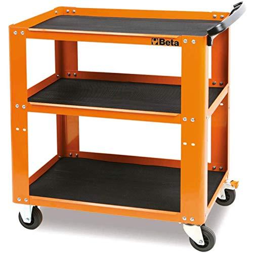 BETA C51 O Profi-Werkzeugwagen Werkzeugtrolley (3 Etagen, 4 Räder Ø 100 mm, 2 starre und 2 lenkbare Räder, rutschfest, ergonomischer Griff, mobiler Werkzeug- und Werkzeugtransport), Orange