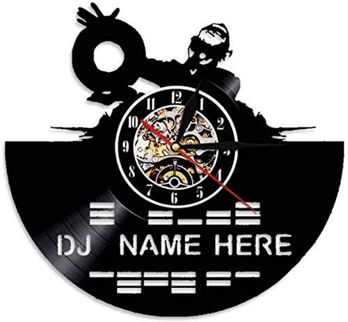 GodyGT DJ mixer record wall clock with music wall DJ name rock music men's gift DJ lover 12 inches