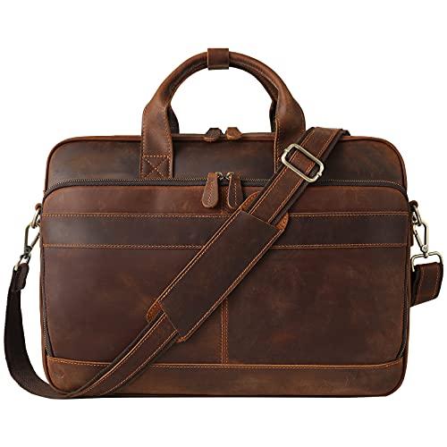 "Jack&Chris Leather Briefcase for Men,Business Messenger Bag Laptop Bag Attache Case 15.6"",MB005-9L"
