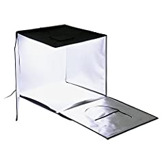 "Comes with Integrated Dimmable LED Lights & Diffusion Panel The studio folds up into a self-contained carrying case Compact and adequate work space 24x24"" Comes with four choices of backdrops- blue, white, gray and black 24-Month Manufacturer Warrant..."