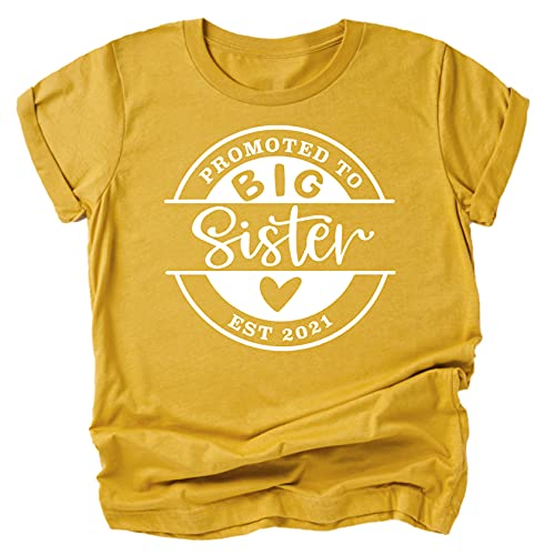 Olive Loves Apple Promoted to Big Sister Est. 2021 Sibling Announcement Shirts for Baby and Toddler Girls Sibling Outfits Mustard Shirt 3T