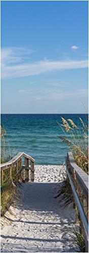 wandmotiv24 Türtapete Weg zum Meer, Sand-Strand, Ozean, Gräser 70 x 200cm (B x H) - Dekorfolie selbstklebend Sticker für Türen, Tür-Bilder, Aufkleber, Deko Wohnung modern M1079
