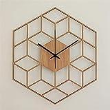 Reloj de pared, Bambú Madera Moderna Moderna Oficina Silent Oficina Accionada Geometría Casa Decoración Dormitorio Regalo Hexagonal Cuarzo Reloj de Pared