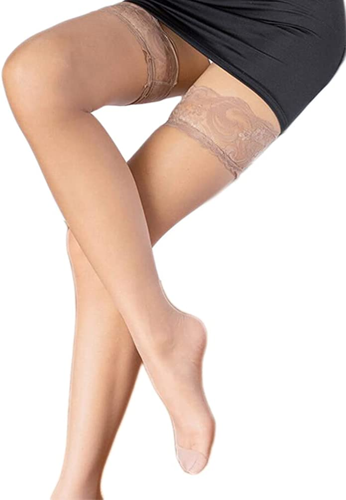 1 Pairs Women Thigh High Stocking Lace Top Stockings Silky Stay Up Pantyhose Stocking Tights for Women Girls