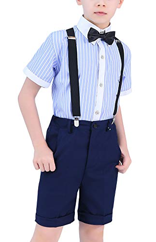 Happy Cherry - Traje Fiesta Bautismo para Niño Ropa de Ceremonia Boda de Verano Pantalones Cortos Camiseta Rayas con Corbata para Banquete Graduación para Niños de 12-13 Años - Azul