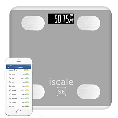 WSJS Smart Bluetooth Bathroom Scale Digital Body Fat Scales Body Composition Analyzer Mit Smartphone-App 26 Gesundheitsmessgeräte Larger LED Display 190KG Pink Grey,Gray